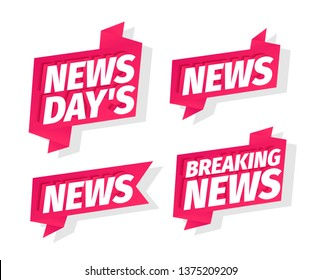 News days headline word set. Breaking news of the day. On pink ribbon. 3d letters. Advertising promotion headline title. Vector color Illustration clipart.