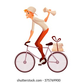 A news delivery boy throwing papers from his bicycle. Post bike delivery. Post boy on bike. Postman riding on a bike with a newspaper in his raised hand. Boy postman with a big bag over his shoulder