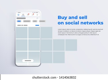 News feed in a social network in the form of a grid. Promotion in social media. Smartphone with social network interface. Screen phone with the application. Design template from landing page or banner