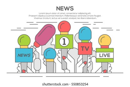 news flat banner poster. Set of microphone. Media tv and interview, information for television, broadcasting mass and communication, collection microphones in hand, thin line, flat design