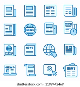 News flat line icons. Set of article, media, paper, document, information and more. Editable Stroke. Change to any size and any colour.