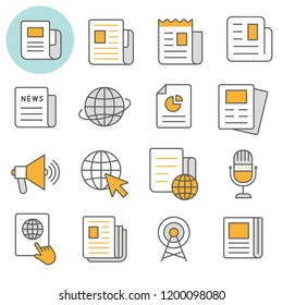 News flat line icons. Set of media, document, information, publication and more. Editable Stroke.