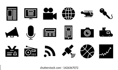 news glyph icon symbol set