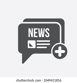 News icon with add sign. News icon and new, plus, positive symbol. Vector icon