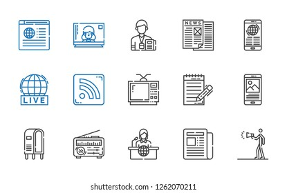 news icons set. Collection of news with advertising, newspaper, news report, letterbox, journalist, television, rss feed, live. Editable and scalable news icons.
