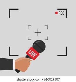 news illustration on focus TV and live with camera frame & record vector. Human hand & modern mic. Journalism on flat design & gray background concept & creative Microphone and one journalist cartoon