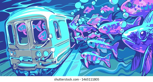 news illustration on the theme of disaster in the city. flood in the subway