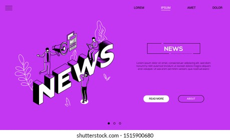 News landing page colorful isometric web banner. Mass media, radio broadcasting, newscasting website layout with outline elements on violet background. Journalism and blogging 3d concept illustration