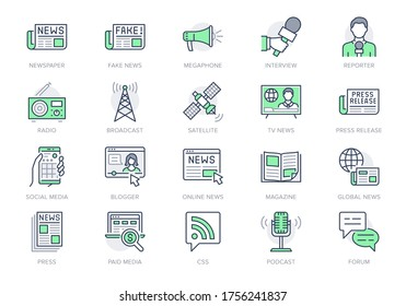 News line icons. Vector illustration included icon as newspaper, mass media, journalist, fake, television broadcasting outline pictogram for online press. Editable Stroke, Green Color.