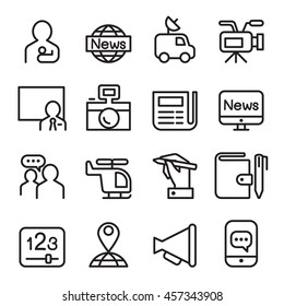 news & mass media icon set in line style