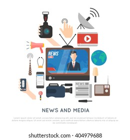 news and media icon concept. anchorman, news stand, microphones, camera, social network, newspaper, tv, radio, satellite connection. isolated vector illustration