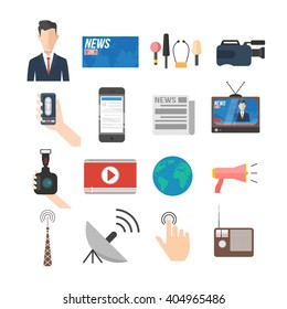 news and media icon set. anchorman, news stand, microphones, camera, social network, newspaper, tv, radio, satellite connection. isolated vector illustration collection