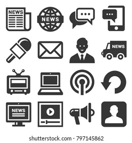 News Media Icons Set on White Background. Vector