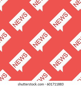 News message seamless pattern on red background
