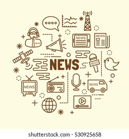 news minimal thin line icons set, vector illustration design elements