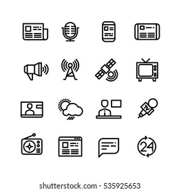 News, newspaper, speech technology, media vector icons. Television news and internet news illustration