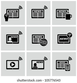 News on tablet pc vector icons set. Online news.