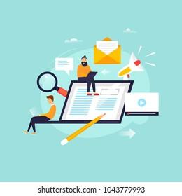 News online, newspaper, information. Flat design vector illustration.