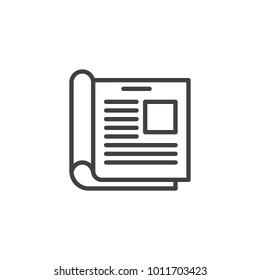 News, Open magazine line icon, outline vector sign, linear style pictogram isolated on white. Journal, newspaper symbol, logo illustration. Editable stroke
