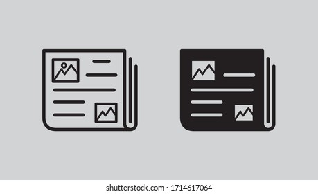 News Paper Icon Set Line Art And Glyph Design Vector Eps 10