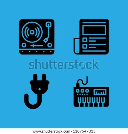 Plug Stock News >> News Paper Piano Plug Turntable Icons Stock Vector Royalty Free