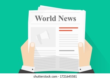 News paper reading or newspaper journal holding man human hands top view vector flat cartoon illustration, concept of daily news press magazine read isolated on color background