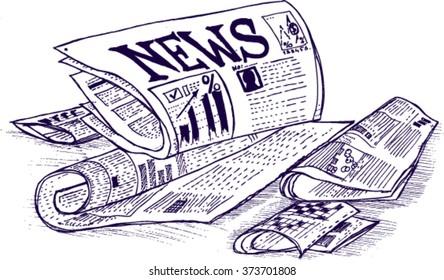 news paper, sketch
