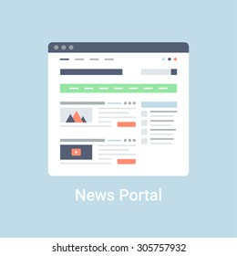 News portal website wireframe interface template. Flat vector illustration on blue background