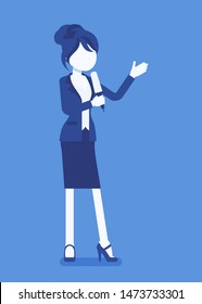 News presenter, female newsreader, newscaster broadcasting. Young woman with Tv interview microphone, anchorman standing presenting breaking news, information. Vector illustration, faceless character