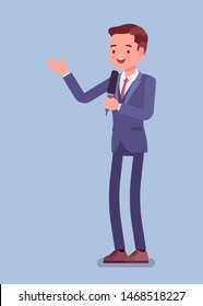 News presenter, male newsreader or newscaster broadcasting. Young man with Tv interview microphone, anchorman standing presenting breaking news and information. Vector flat style cartoon illustration