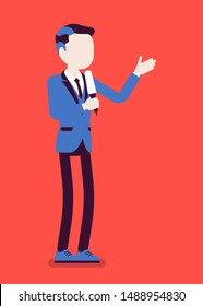 News presenter, male newsreader or newscaster broadcasting. Young man with Tv interview microphone, anchorman standing presenting breaking news and information. Vector illustration, faceless character