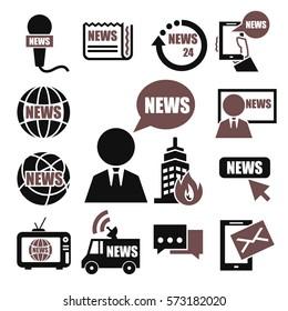 news, report icon set