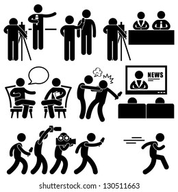 News Reporter Anchor Woman Newsroom Man Talk Show Host Stick Figure Pictogram Icon