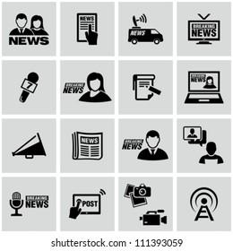 News reporter icons set.
