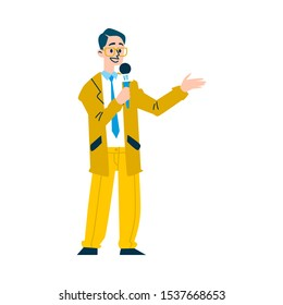 News reporter man speaking on microphone - cartoon television newscaster character wearing yellow suit and glasses isolated on white background, flat vector illustration