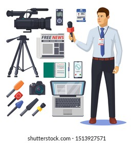 News reporter with microphone. Journalist and photographer, newspaper paparazzi items. Voice recorder and notebook, photo camera and tripod, microphone and id. Journalism and media theme