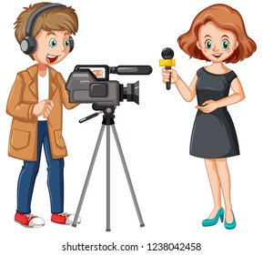 News reporter and professional cameraman illustration