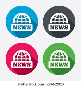 News sign icon. World globe symbol. Circle buttons with long shadow. 4 icons set. Vector