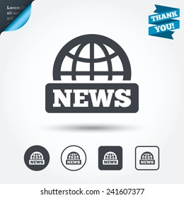 News sign icon. World globe symbol. Circle and square buttons. Flat design set. Thank you ribbon. Vector