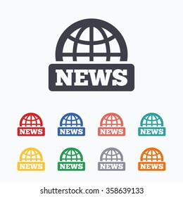 News sign icon. World globe symbol. Colored flat icons on white background.
