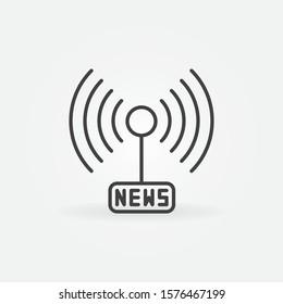 News Signal or antenna vector concept outline icon or symbol