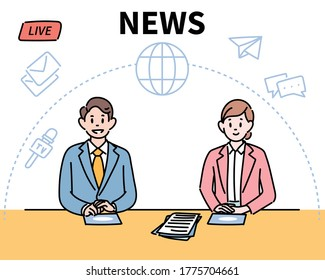 The news studio's male and female anchors are delivering the news. hand drawn style vector design illustrations.