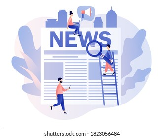 News. Tiny people read breaking news on newspaper. Modern flat cartoon style. Vector illustration on white background