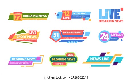 News title set. Web headline television online media information color bar, daily broadcast of news channel titles. breaking life, sports latest streaming digital during day. Vector flat banners.