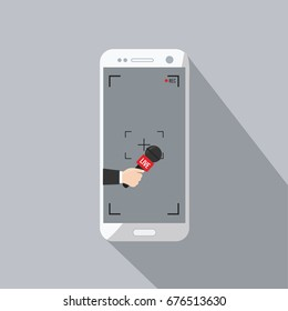 news TV cell phone and live in mobile phone with camera frame. rec & record cartoon. hand & mic vector. Journalism on isolated focus concept & creative Microphone & one journalist flat design