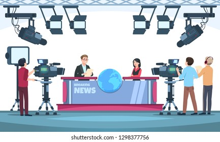 News tv show studio. Presenters broadcasting with cameraman on television. People talking to camera in studio. Vector illustration