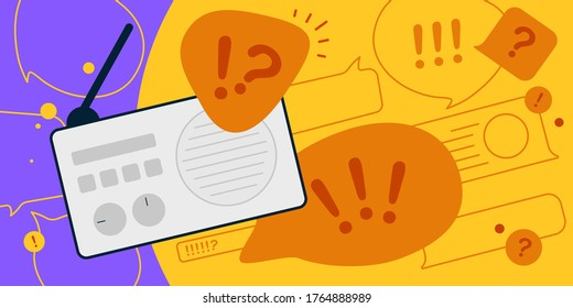 News update, flat vector design with modern elements isolated on bright contrast yellow and violet background. Urgent news in popular media. Radio podcast with important information for people.