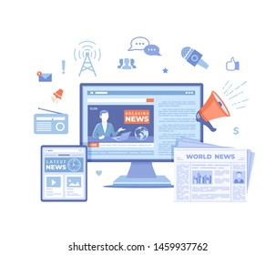 News Update, Online news. Breaking news website with broadcaster on the monitor and tablet screen, newspaper, radio. Information about events, activities, announcements. Vector illustration on white