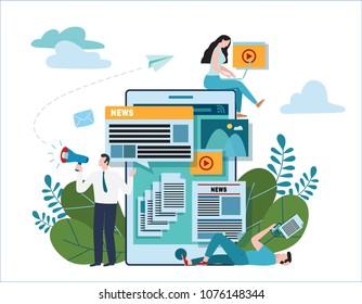 news update online illustration vector.newspaper website concept.announcements internet social network.flat cartoon design for banner mobile and webannouncer holding megaphone