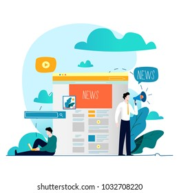 News update, online news, newspaper, news website flat vector illustration. News webpage, information about events, activities, company information and announcements